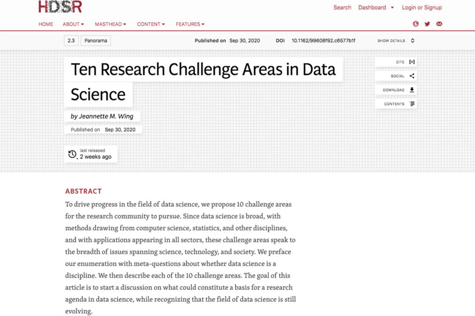 Ten Research Challenge Areas in Data Science