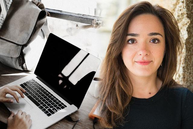 Sandrine and laptop